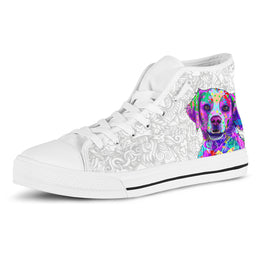 Brittany Women's Dog Breed High Top Canvas Shoes (Light Love Doodles)