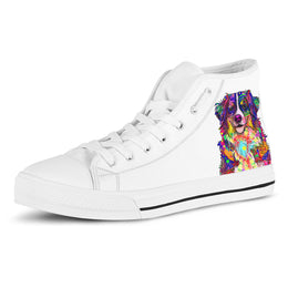 Bernese Mountain Dog Women's Dog Breed High Top Canvas Shoes (Pure White)
