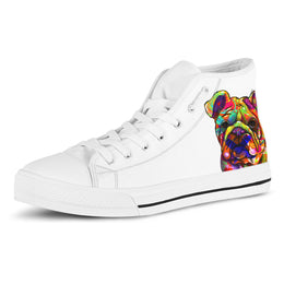 Bulldog Women's Dog Breed High Top Canvas Shoes (Pure White)