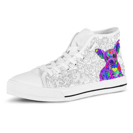 Chihuahua Women's Dog Breed High Top Canvas Shoes (Light Love Doodles)