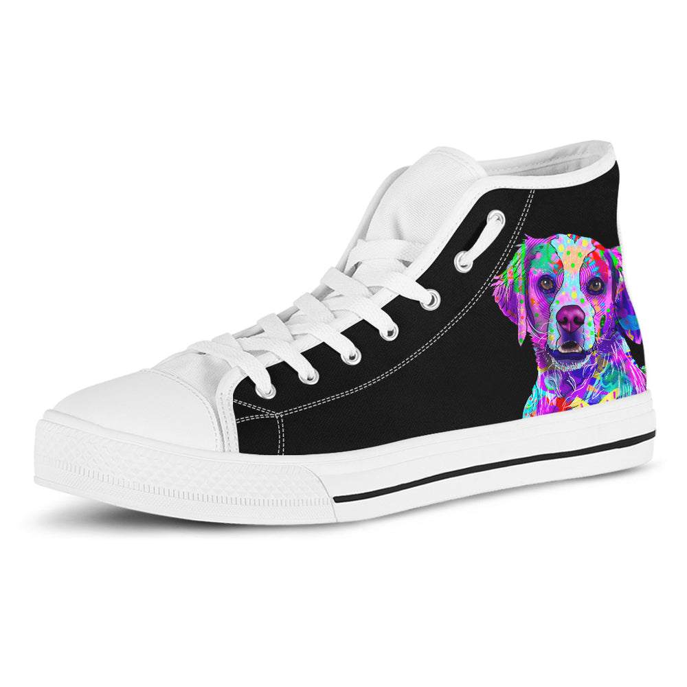 Brittany Women's Dog Breed High Top Canvas Shoes (Pure Black)