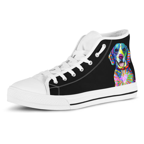 Beagle Dog Men's Plain Black High Top Canvas Shoes (White Sole)