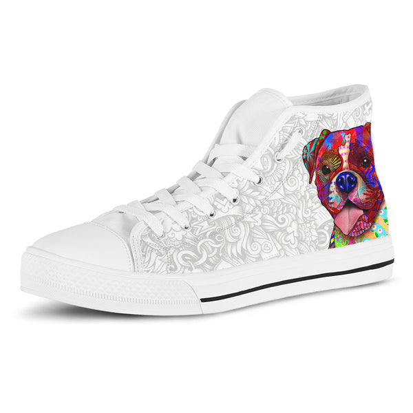 Boxer Women's Dog Breed High Top Canvas Shoes (Light Love Doodles)