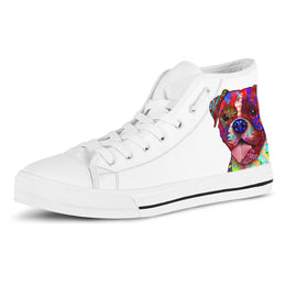 Boxer Women's Dog Breed High Top Canvas Shoes (Pure White)
