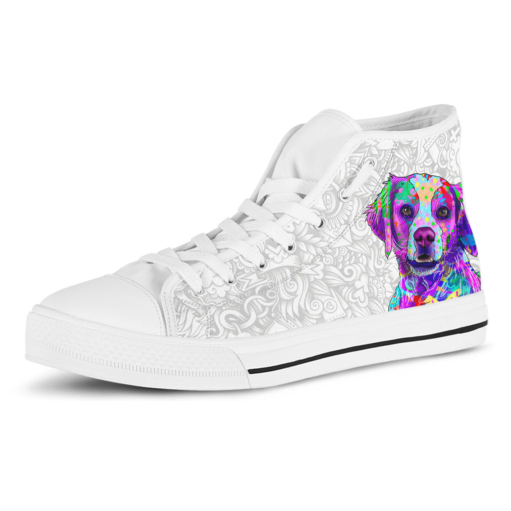 Brittany Men's Dog Breed High Top Canvas Shoes (Light Love Doodles)