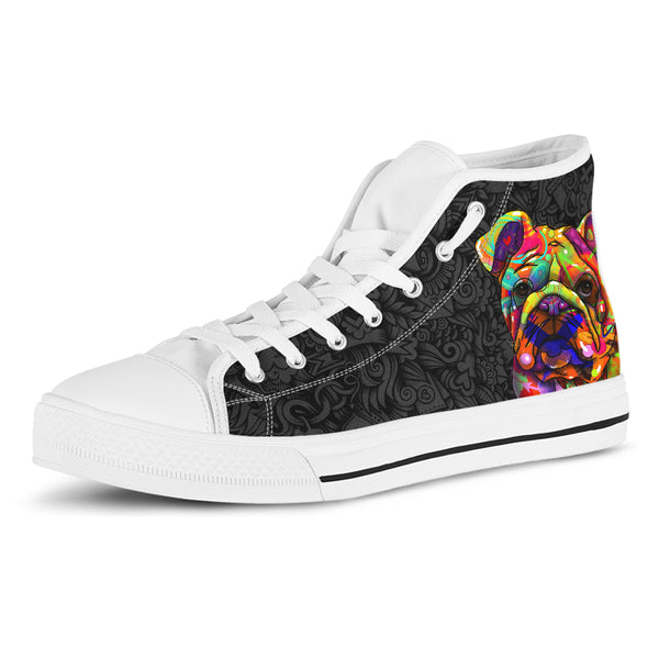 Bulldog Women's Dog Breed High Top Canvas Shoes (Black Love Doodles)