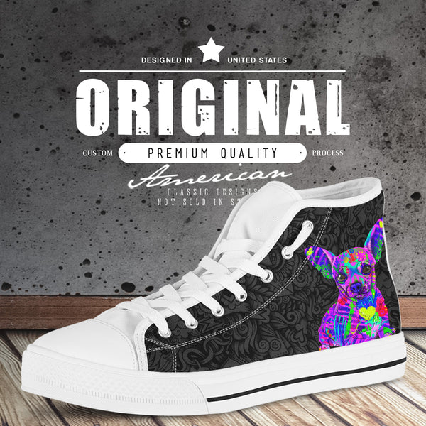 Chihuahua Women's Dog Breed High Top Canvas Shoes (Black Love Doodles)