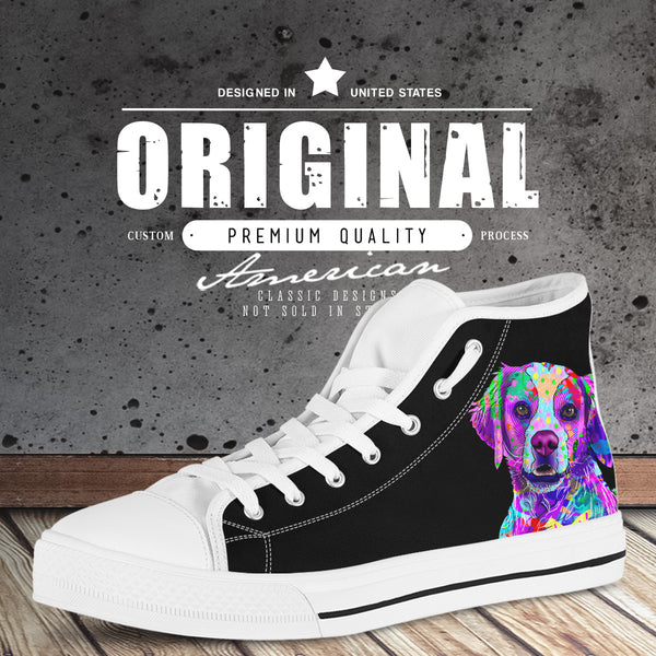 Brittany Men's Dog Breed High Top Canvas Shoes (Pure Black)