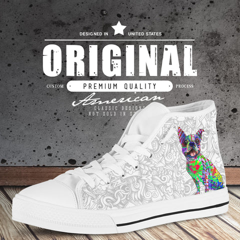 Boston Terrier Men's Dog Breed High Top Canvas Shoes (Light Love Doodles)