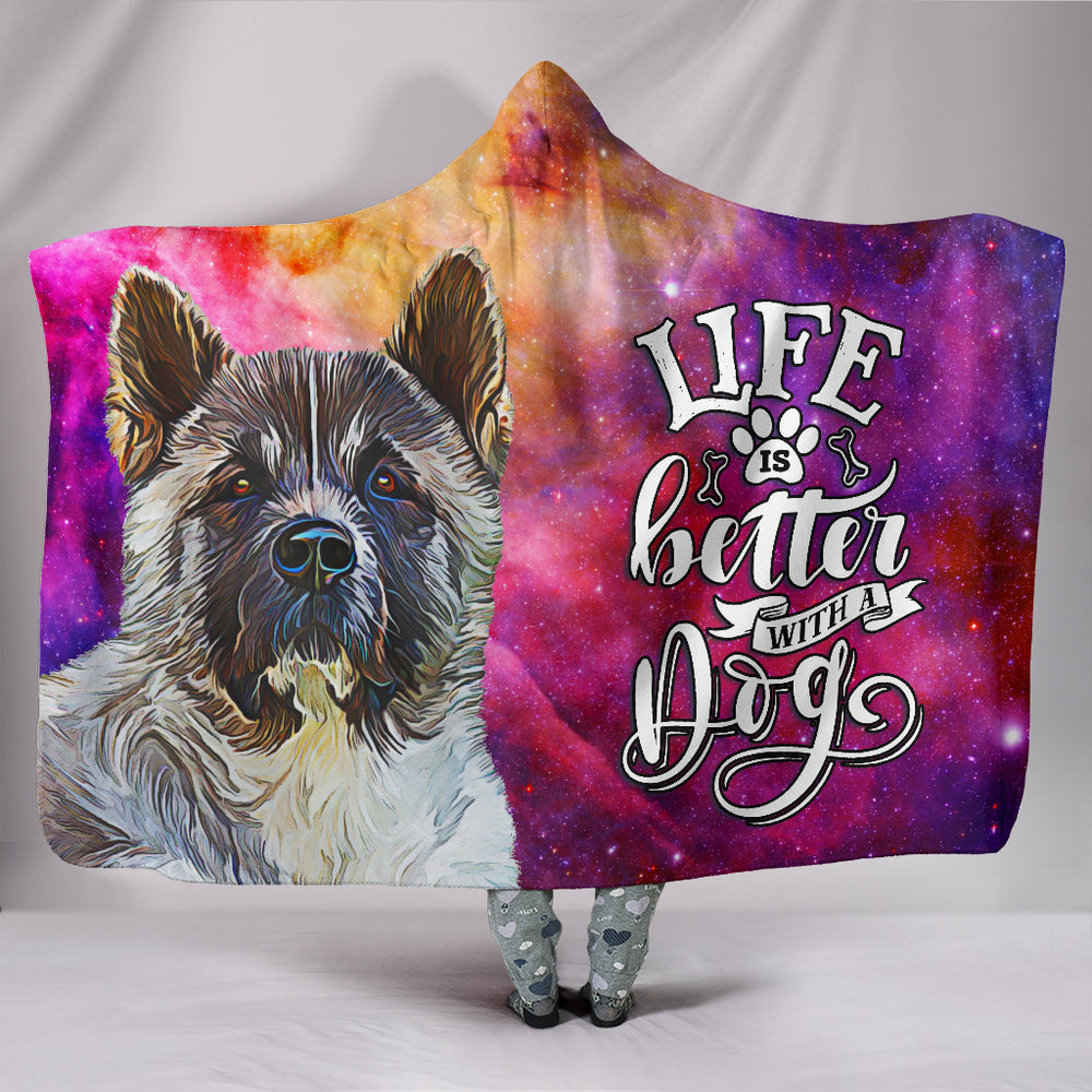 Akita Dog Breed Life Is Better Hooded Blanket