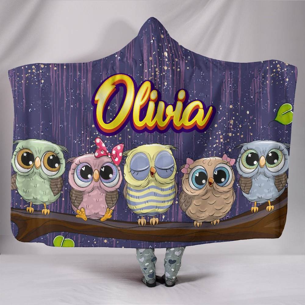 Olivia Girls Owls On Branch Personalized Hooded Blanket