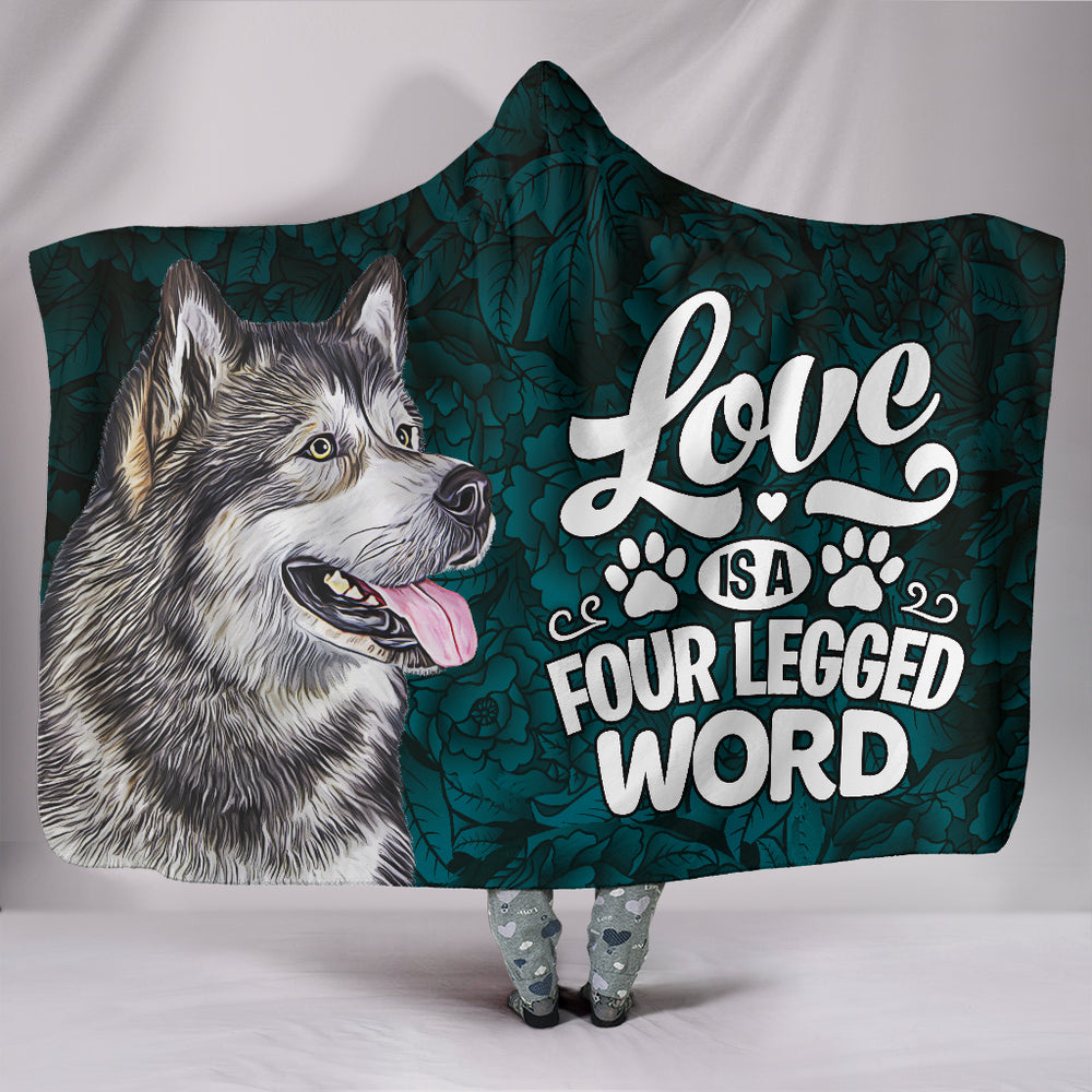 Alaskan Malamute Dog Breed Illustrated Love Hooded Blanket