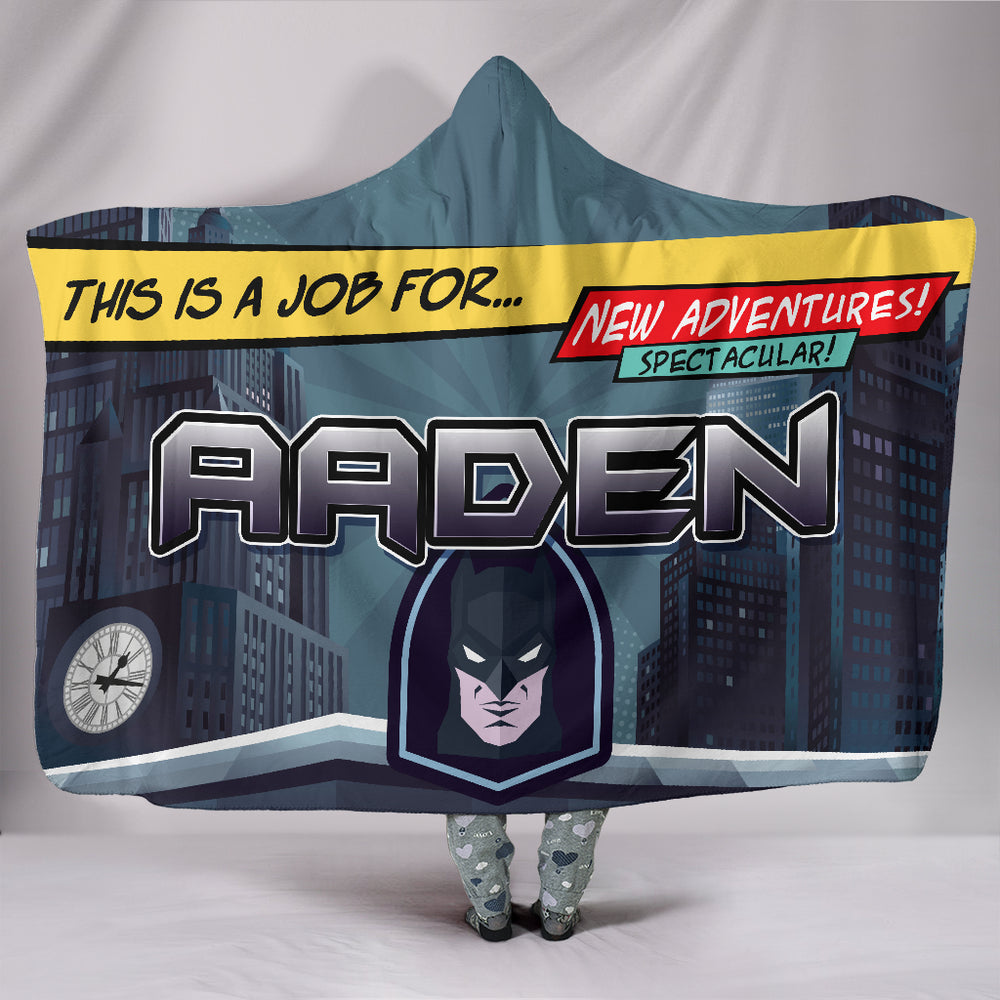 Aaden Boys Batman Mask Personalized Hooded Blanket