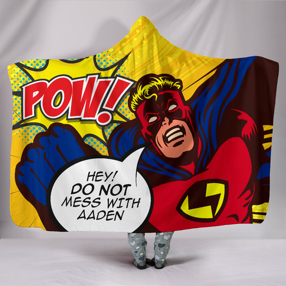Aaden Boys Pow Superhero Personalized Hooded Blanket
