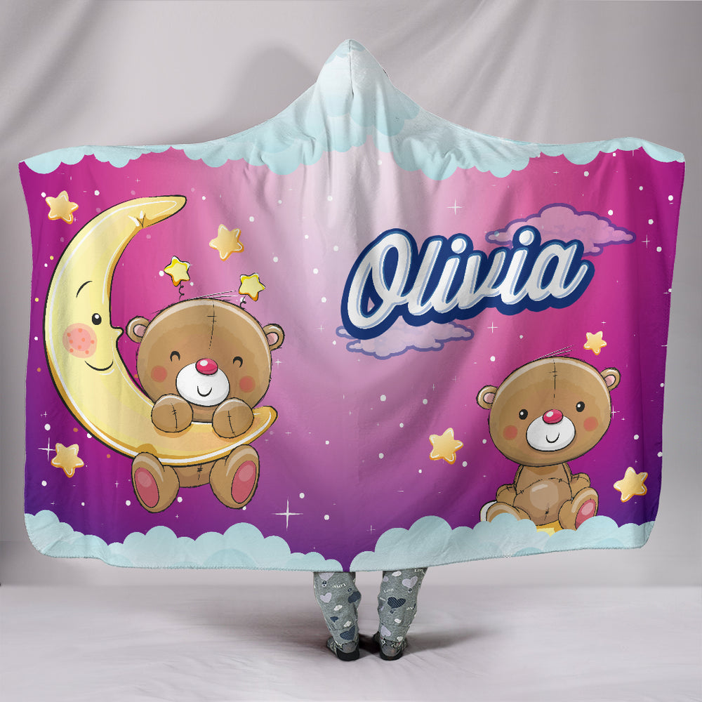 Olivia Girls Cute Bears Personalized Hooded Blanket