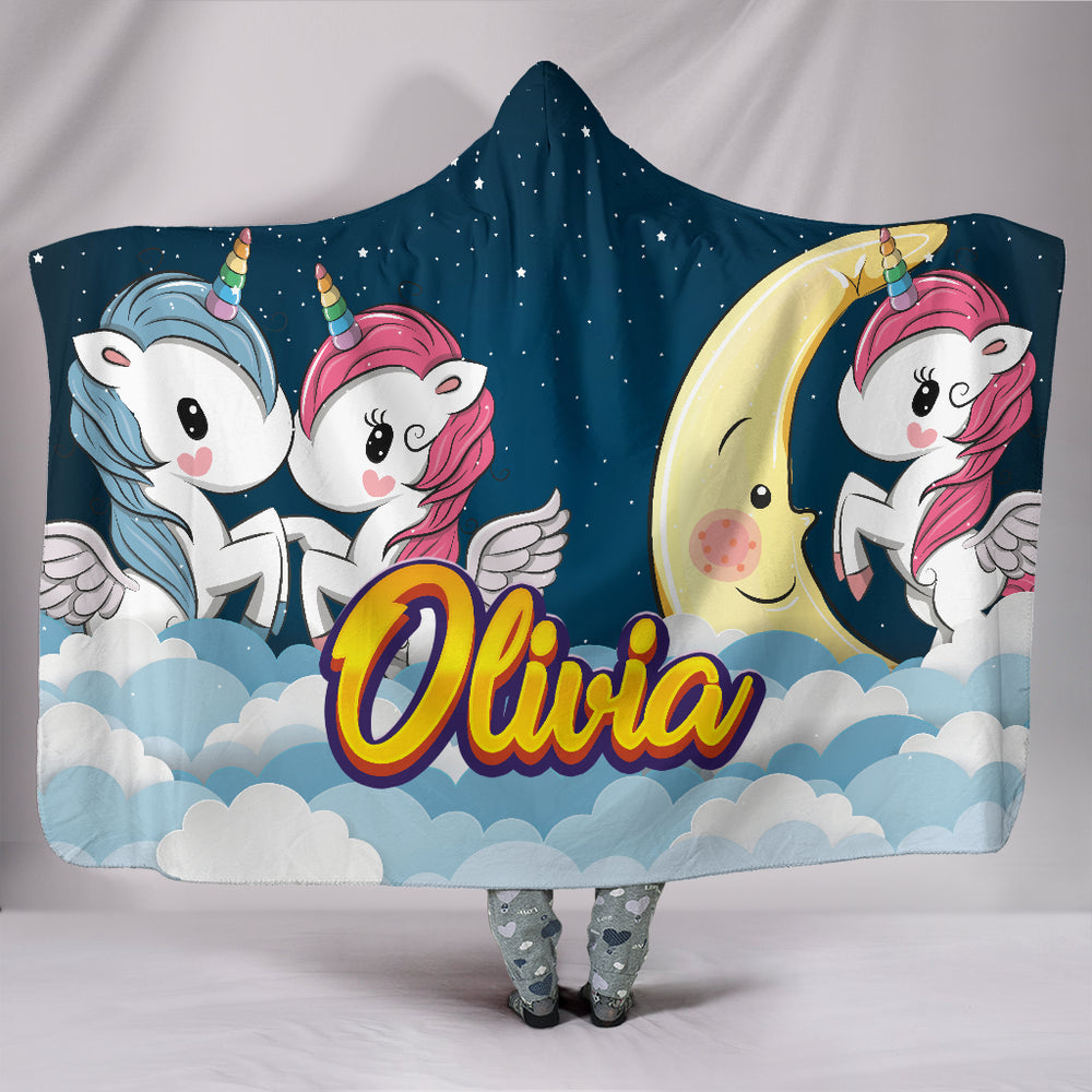 Olivia Girls Cute Unicorns Personalized Hooded Blanket