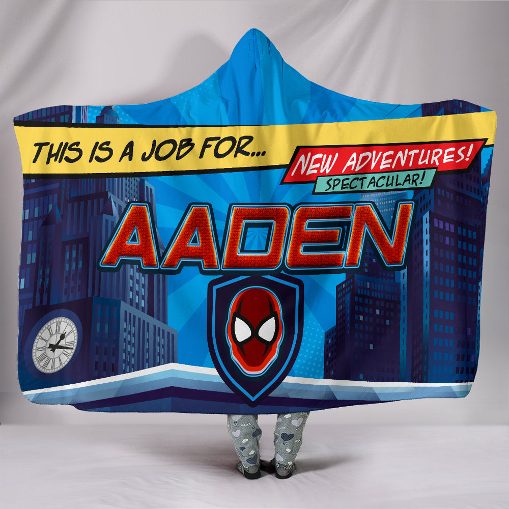 Aaden Boys Spiderman Superhero Themed Personalized Hooded Blanket