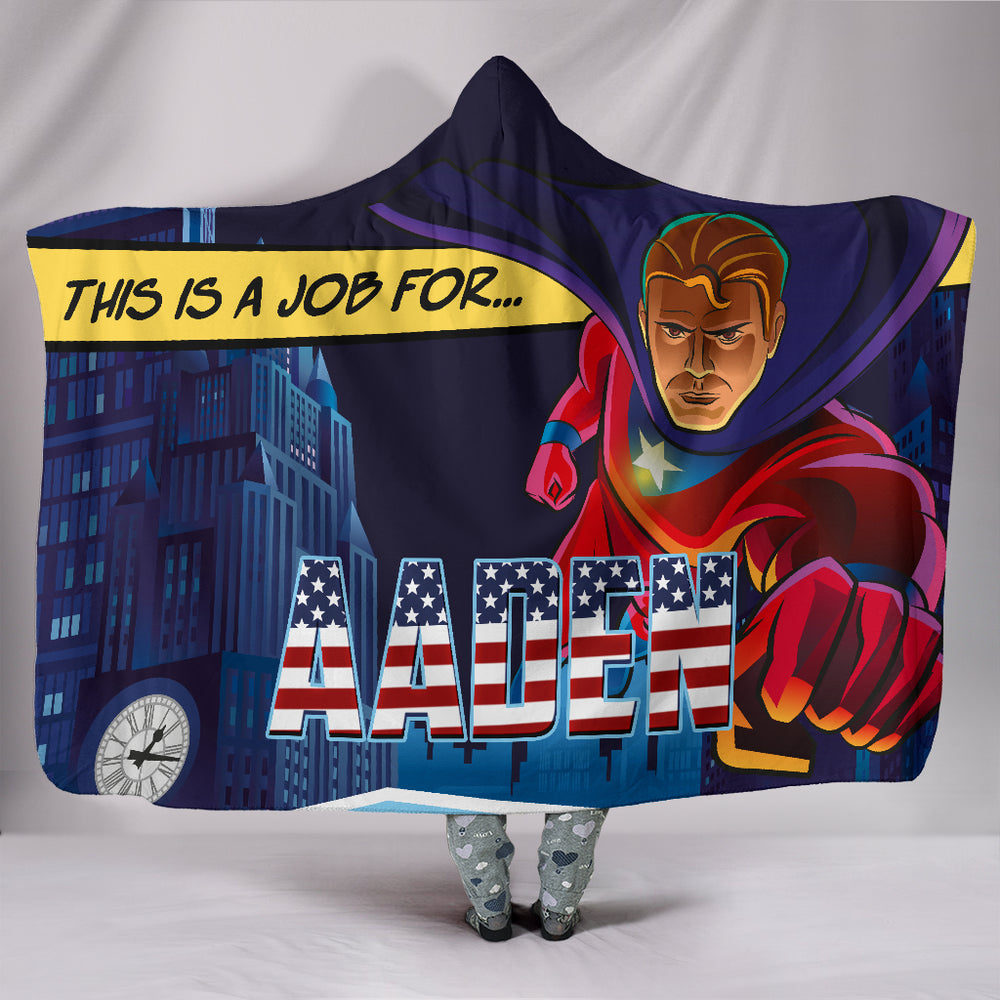 Aaden Boys Captain America Novelty Superhero Themed Personalized Hooded Blanket