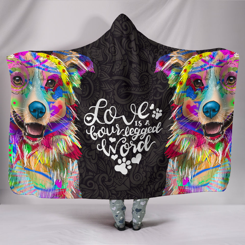 Australian Shepherd Dog Lover Hooded Blanket - Love Is A Four Legged Word
