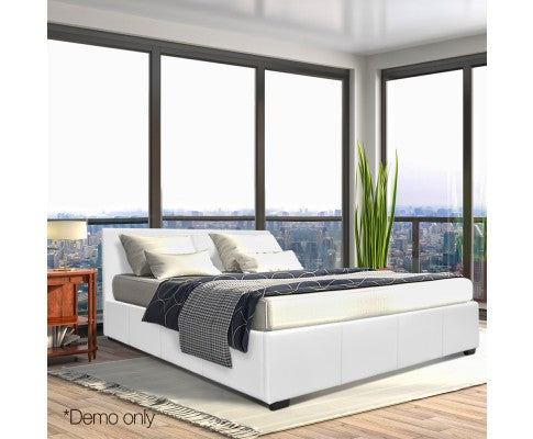 Queen Gas Lift PU Leather Bed Frame White