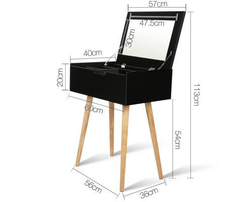 Dressing Table with Foldaway Mirror- Black/White FREE AUSE WIDE SHIPPING