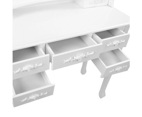 7 Drawer Dressing Table w/ Mirror White - FREE AUS WIDE DELIVERY