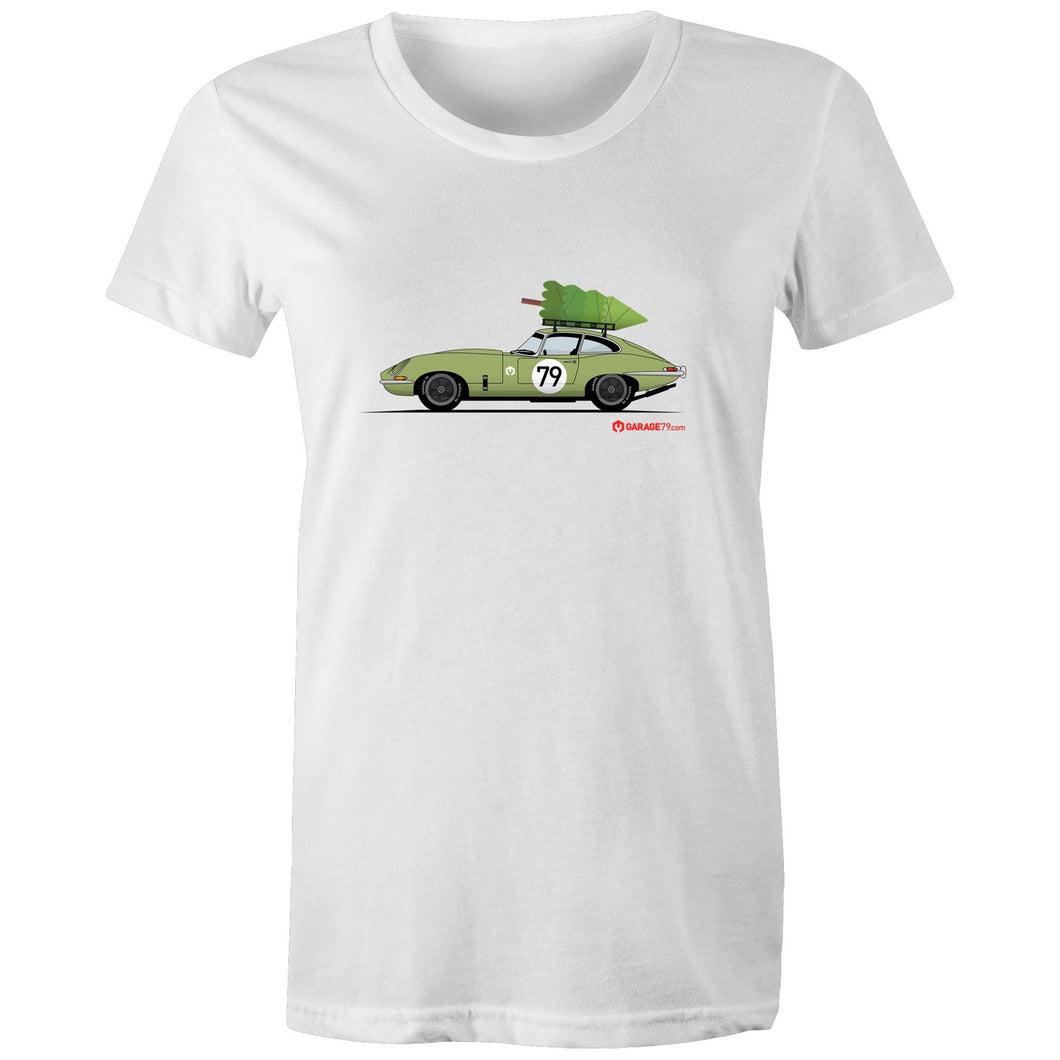 Christmas Jaguar E-Type Series Women's Maple Tee