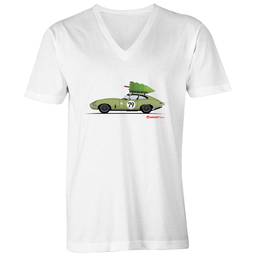 Christmas Jaguar E-Type Series Mens V-Neck Tee