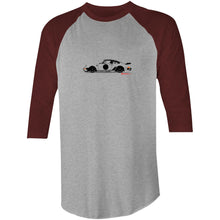 Porsche on the Side Raglan 3/4 Sleeve T-Shirt