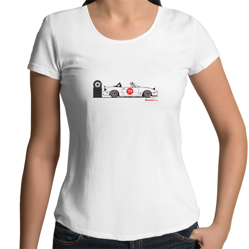 MX5 Side Racer - Womens Scoop Neck T-Shirt (Print on Demand)