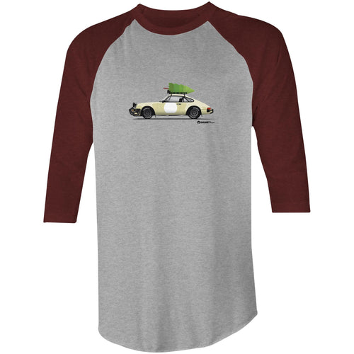 Christmas Porsche 911 Safari Tree 3/4 Sleeve T-Shirt