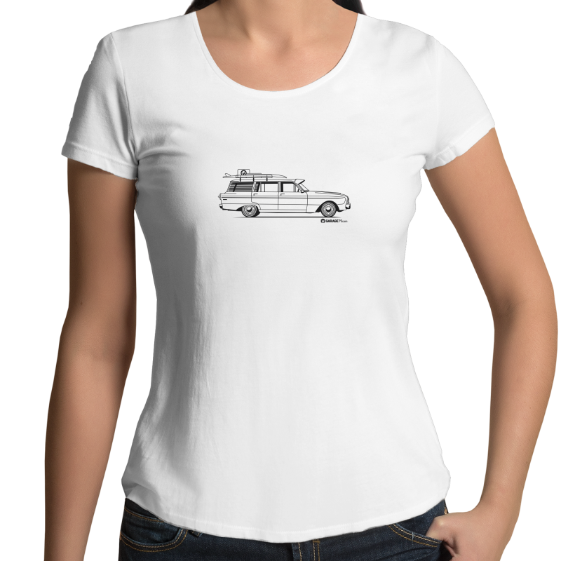 Falcon on the Side - Womens Scoop Neck T-Shirt