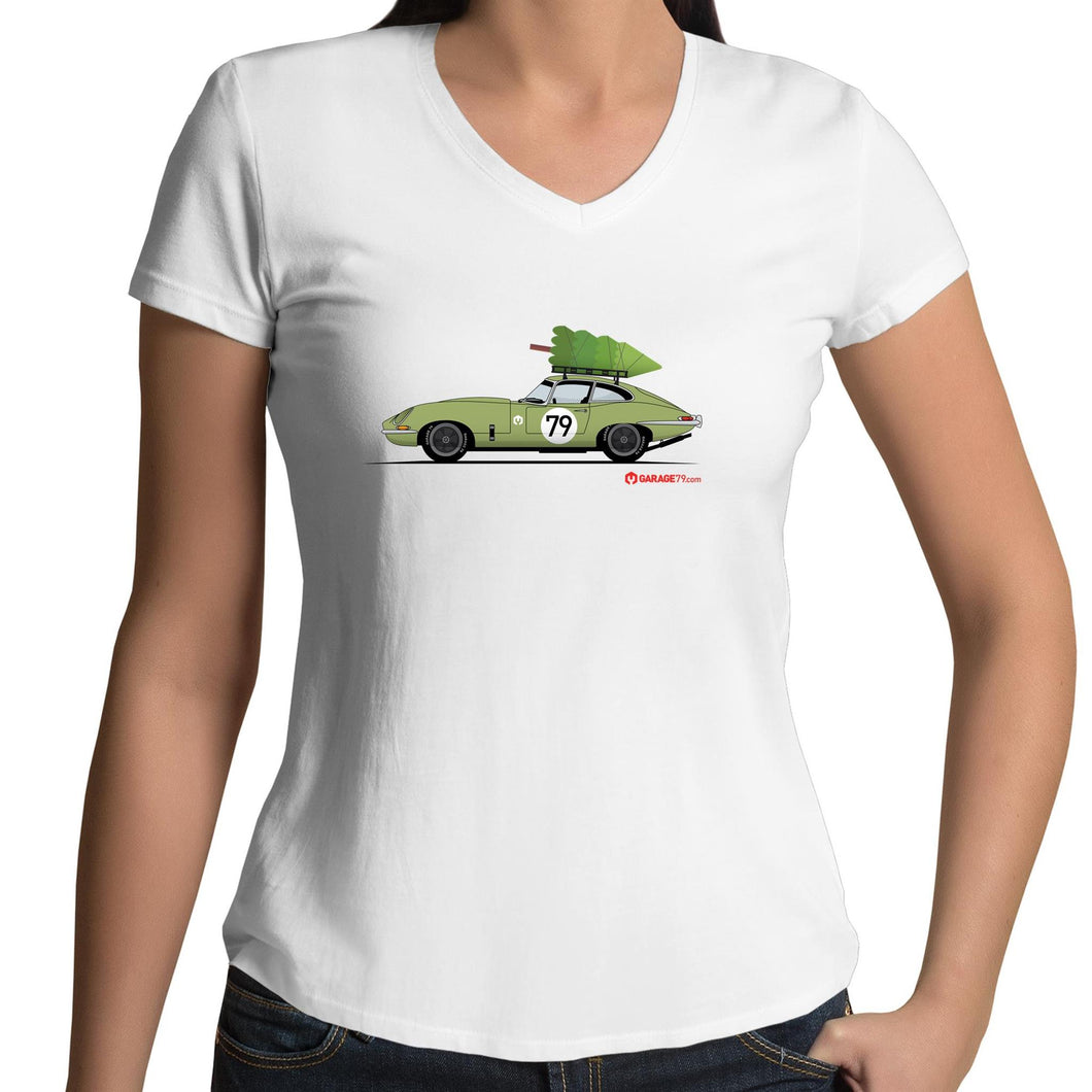 Christmas Jaguar E-Type Series Womens V-Neck T-Shirt