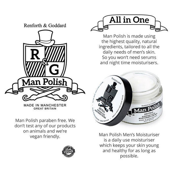 Man Polish Men's Moisturiser - Everyday All in One Face Moisturiser for Men - 50ml