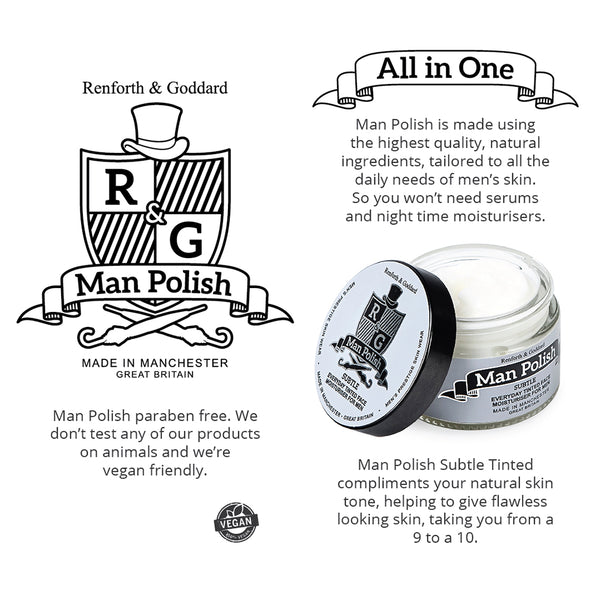 Man Polish Subtle Tinted - Everyday Gradual Tanning Face Moisturiser for Men - 50ml