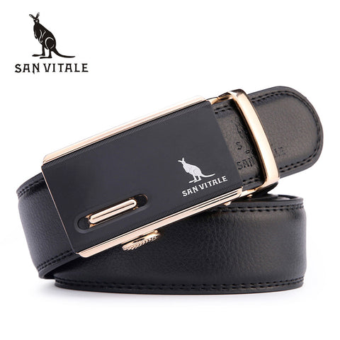 SAN VITALE Automatic Buckle Designer Leather Belts for Real Men