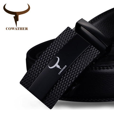 COWATHER Genuine Leather Belts for Men - top quality automatic alloy buckle
