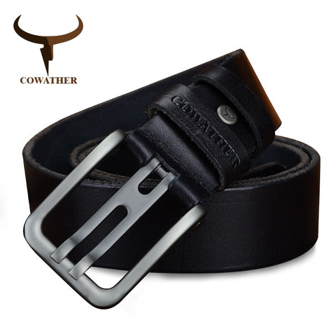 COWATHER Alloy Pin Buckle Genuine Leather Belts for Men