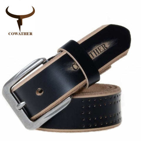 COWATHER Fashion Style High Quality Genuine Leather Belts for Men