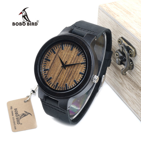 BOBO BIRD WC24 New Fashion 100% Natural Black Wood Watches for Men