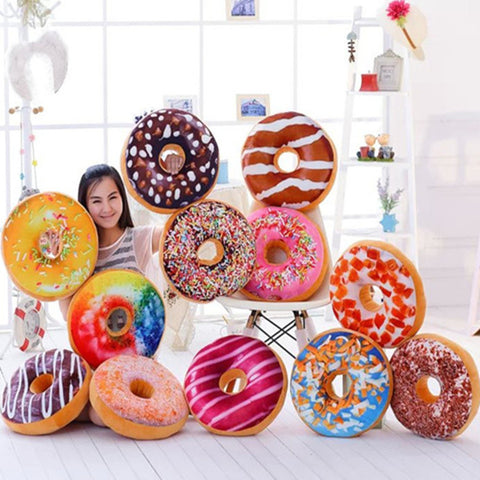Plush Food Donut 3d Pad Sweet Shaped Cushions Cover Toys Buns Round Doll Pillows