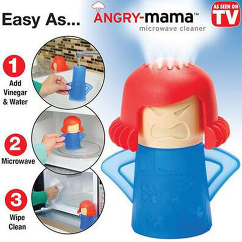 Angry Mama Microwave Oven Steam Cleaner With Vinegar and Water Easy Cleans
