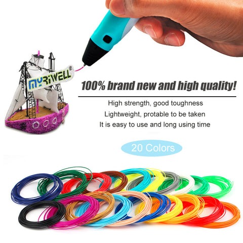 Universal 10M Length 20 Colours PLA/ABS 3D Printer Filament