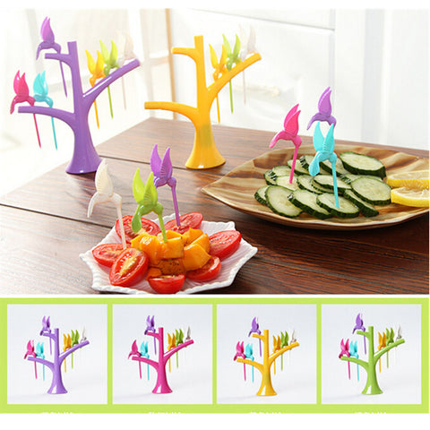 Birdie Fruit Fork Birds On The Tree Dessert Cake Dinnerware set