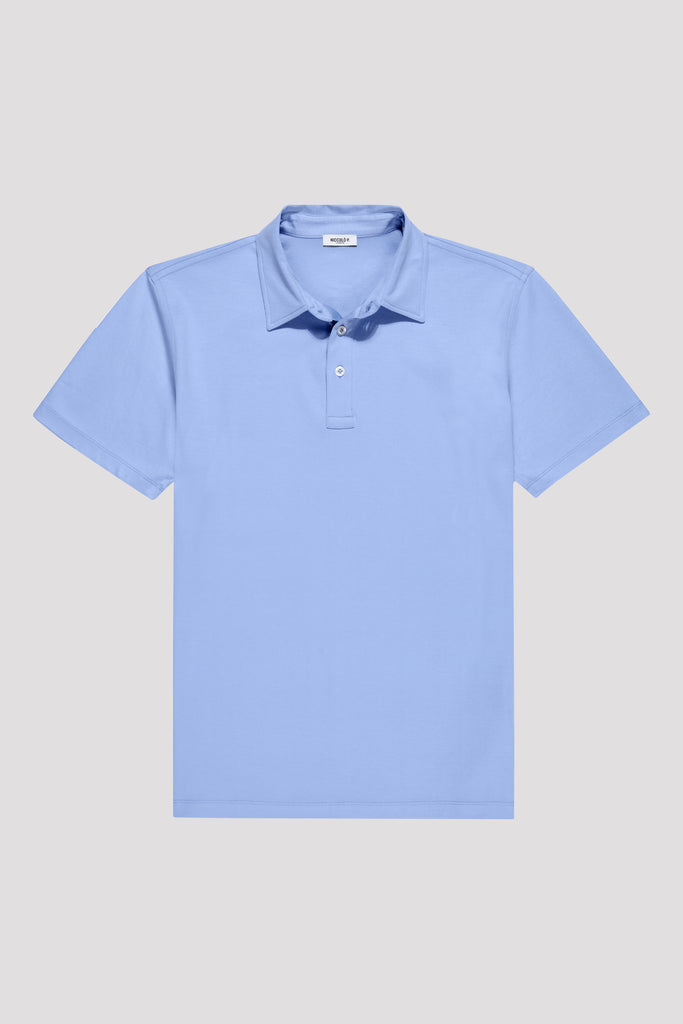 Amalfi Blue Polo Shirt in Egyptian Cotton
