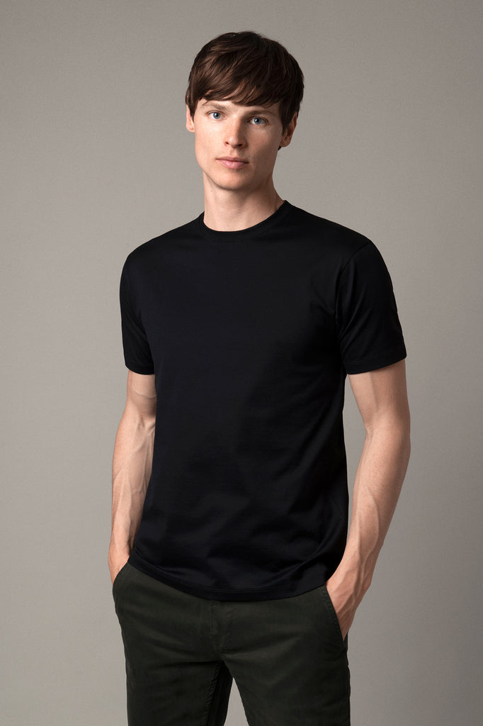 Black Crew Neck T-Shirt in Supima Cotton