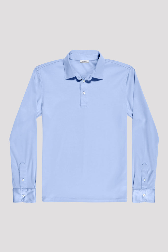 Cadiz Blue Long Sleeve Polo Shirt in Egyptian Cotton