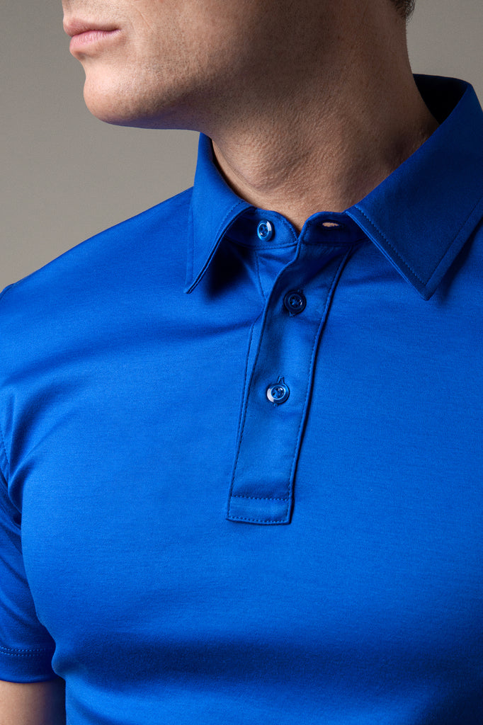 Cerulean Blue Polo Shirt in Egyptian Cotton