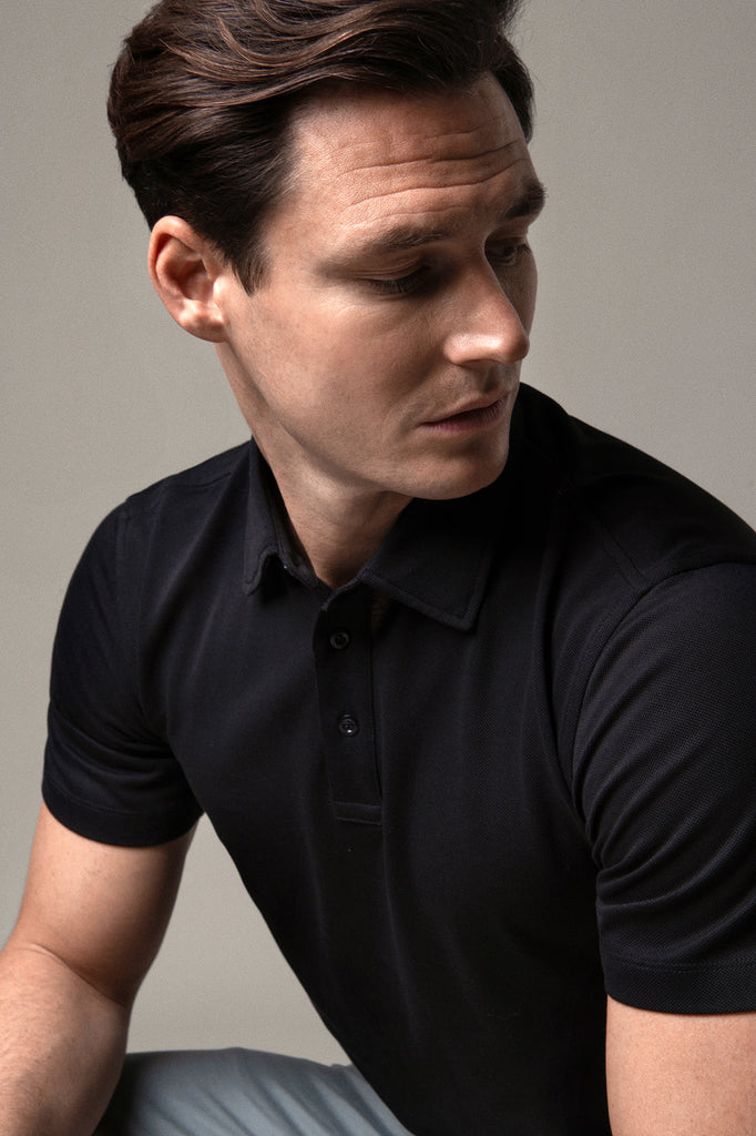 Deep Black Polo Shirt in Sea Island Cotton