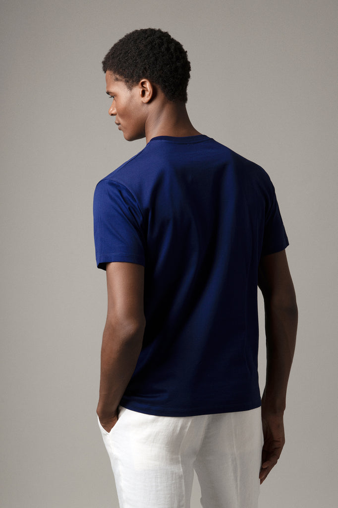 Evening Blue Crew Neck T-Shirt in Supima Cotton